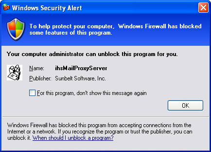 [Windows Firewall has blocked some features of ihsMailProxyServer]